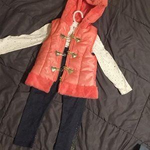 Little Lass sparkly vestjeggings & long sleeve 6